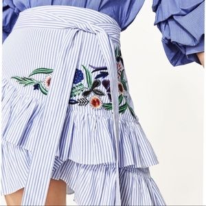 Zara Skirts - Zara Stripe Embroidered Skirt